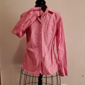 Abercrombie Pink & White Stripe Cotton Blouse 10